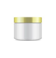 Round white plastic jar with gold cap for vector