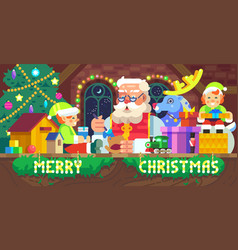 Santa claus in a workshop vector