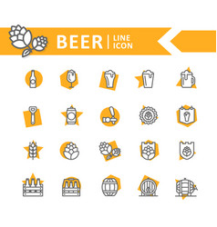 set of beer and bar pub line icons vector image vector image