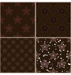 Set of brown star patterns vector image