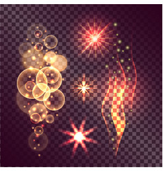 Set of twinkle actions on transparent background vector