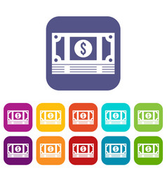 Stack of money icons set vector
