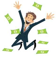 Successful Businessman Smiling And Jumping vector image vector image