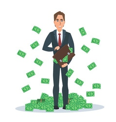 Successful businessman standing near a pile of vector image vector image