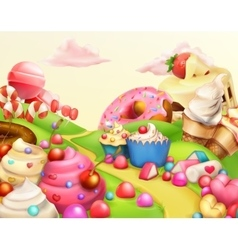 Sweet landscape background vector image vector image