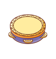tambourine musical instrument for kid baby toy vector image vector image