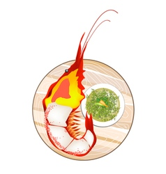 Thai grilled giant prawn with spicy and sour sauce vector