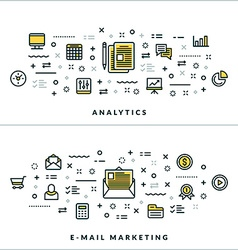 Thin line analytics and email marketing concepts vector