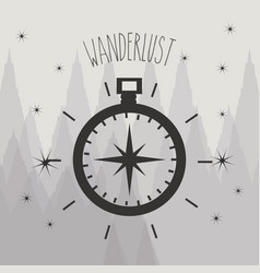 Wonderlust symbol with compass ubication to vector
