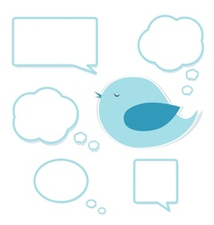 Blue bird and set of speech bubbles vector