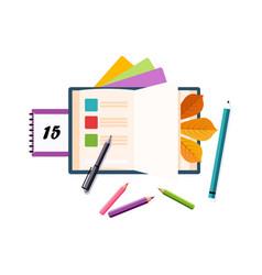 Schedule calendar and pencils set of school and vector