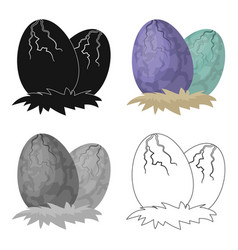 Eggs of dinosaur icon in cartoon style isolated on vector