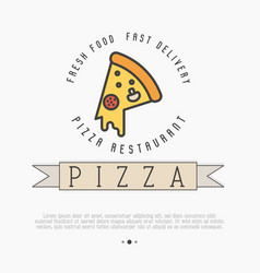 Pizza logo with thin line icon for menu vector