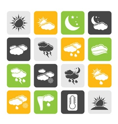 Silhouette weather and meteorology icons vector