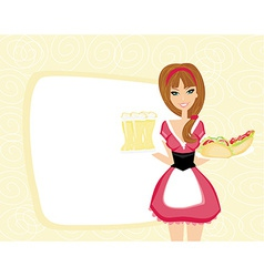 Beautiful waitress with a tray with beers and vector