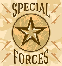 Special forces military patches with desert vector