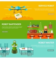 Robots design concept set with service robot vector
