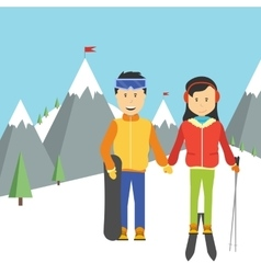 Portrait of happy couple skiers vector