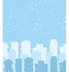Winter city snow falls on building sky with vector