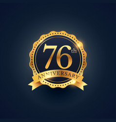 76th anniversary celebration badge label in vector