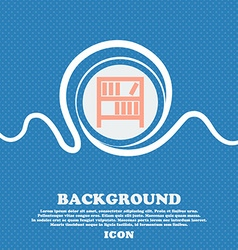 Bookshelf icon sign blue and white abstract vector