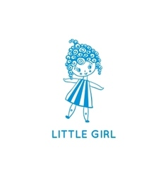 Little girl logo hand drawn vector