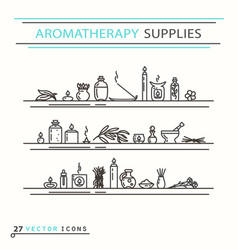 Aromatherapy supplies icons vector