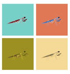 Assembly flat bug mantis vector
