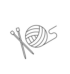 Ball of yarn and needle vector