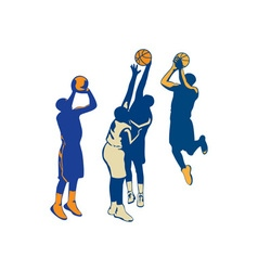 Basketball player shoot ball retro collection vector