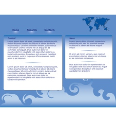 blue web site template vector image