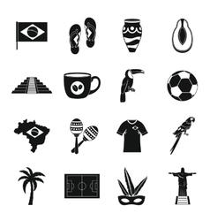 Brazil travel symbols icons set simple style vector