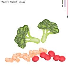Broccoli with vitamin c and vitamin k vector