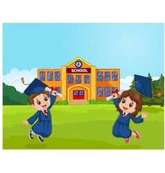 Cartoon graduation celebration with school vector