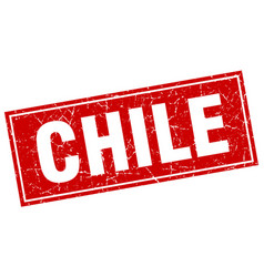 Chile red square grunge vintage isolated stamp vector