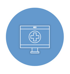 Computer display with medical app vector
