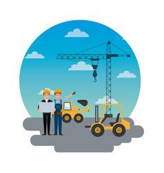 Construction workers engineer foreman truck vector