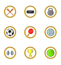 Cool sport icon set cartoon style vector