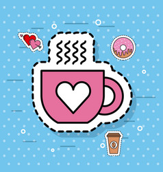 cute coffee cup love heart hot cartoon vector image