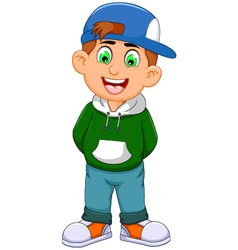Cute little boy cartoon standing vector