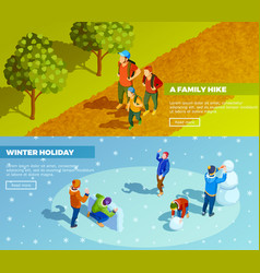 Family outdoor activities isometric banners set vector