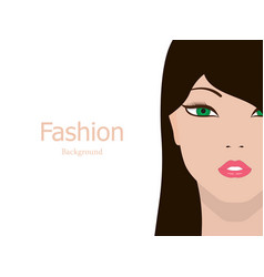 Fashion background beautiful girl face vector
