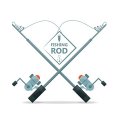 fishing rod with reel equipment concept vector image vector image
