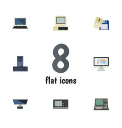 Flat computer set of technology display notebook vector