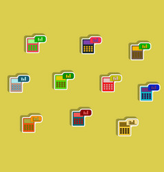 Flat icons set of calculator concept in paper vector