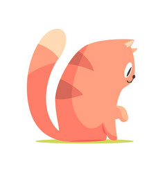 funny red cat sitting on the floor side view vector image vector image