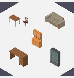 Isometric design set of chair couch cupboard and vector
