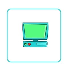 Old computer icon simple style vector image