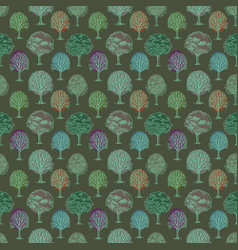 Pattern with trees and bushes on green background vector