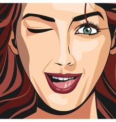 Portrait girl red haired wink lipstick vector